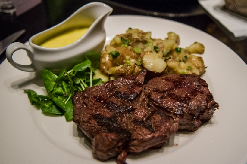 Rib eye steak (310g) with champ potatoes - £19.75 (plus £2.00 for Bearnaise sauce)